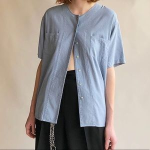 Vintage Light Blue Raw Silk Top